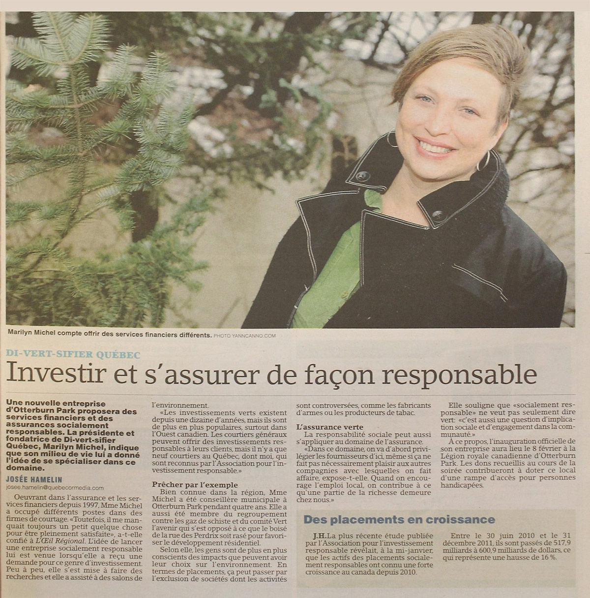 Article dans l'Oeil Régional Di-vert-sifier 2013